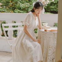 Dress Summer 2020 Apricot S,M,L longuette singleton  Short sleeve commute Doll Collar High waist Solid color Socket A-line skirt Lotus leaf sleeve Others 18-24 years old Type A literature Bowknot, stitching, bandage, button, lace 71% (inclusive) - 80% (inclusive) Lace cotton