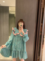 Dress Summer 2021 Green (spot), Green ~ pre-sale as soon as possible yo~ Average size longuette singleton  Long sleeves Sweet Crew neck Loose waist Decor Single breasted Princess Dress puff sleeve Others 25-29 years old Type A Bow, Ruffle More than 95% Chiffon polyester fiber