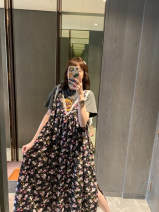 Dress Spring 2021 (in stock), ~ pre sale as soon as possible~ Average size Middle-skirt singleton  Short sleeve commute Crew neck High waist Decor other Princess Dress puff sleeve Others 25-29 years old Type H 81% (inclusive) - 90% (inclusive) Chiffon