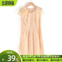 Dress Summer 2020 Apricot L,XL Mid length dress singleton  Short sleeve Sweet Crew neck Solid color zipper Type H T1304 Lace