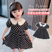Dress Doll collar polka dot skirt [black] kbyy female Other / other 80cm,90cm,100cm,110cm,120cm,130cm Cotton 95% other 5% summer Korean version Short sleeve Dot cotton A-line skirt Doll collar polka dot skirt Class B Chinese Mainland Zhejiang Province Huzhou City