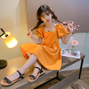 Dress Summer 2021 Orange, pink, violet 110,120,130,140,150,160,170 Mid length dress Short sleeve commute square neck Solid color A-line skirt puff sleeve Under 17 Other / other Korean version 91% (inclusive) - 95% (inclusive) other cotton