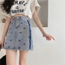 skirt Summer 2021 S,M,L Picture color Middle-skirt Sweet High waist Denim skirt 18-24 years old 91% (inclusive) - 95% (inclusive) Denim Other / other