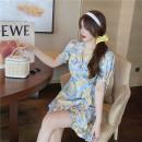 Dress Summer 2021 Decor Average size Short skirt Short sleeve Sweet V-neck High waist Decor A-line skirt other 18-24 years old Vougeek