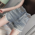 Jeans Summer 2021 blue S,M,L shorts Straight pants routine Nail bead, Sequin Dark color WK000514 Vougeek