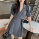 Dress Summer 2021 Dark grey, plum purple S, M Middle-skirt singleton  Short sleeve Sweet V-neck middle-waisted Solid color double-breasted A-line skirt puff sleeve Others 25-29 years old Type A Vougeek Button 31% (inclusive) - 50% (inclusive) polyester fiber