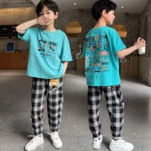 suit Other / other Green suit, white suit 110cm,120cm,130cm,140cm,150cm,160cm male No season leisure time Long sleeve + pants 2 pieces Thin money There are models in the real shooting Socket nothing lattice cotton children Expression of love T004 other Cotton 100% Chinese Mainland