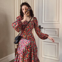 Dress Spring 2021 Picture color S,M,L,XL longuette singleton  Long sleeves commute V-neck High waist Broken flowers Socket A-line skirt routine Others 18-24 years old Type A Korean version 81% (inclusive) - 90% (inclusive) other