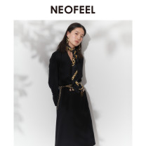 Dress Spring 2020 black 2/S,3/M,4/L,5/XL,6/XXL Mid length dress singleton  Long sleeves commute High waist Solid color Socket A-line skirt routine 25-29 years old Type A Simplicity More than 95% polyester fiber