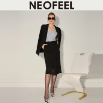 skirt Winter 2020 black Middle-skirt commute Natural waist Pencil skirt Solid color Type A 25-29 years old wool Asymmetry Simplicity