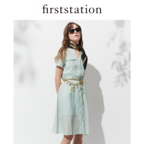 Dress Spring 2020 Yellow, green 2/S,3/M,4/L,5/XL,6/XXL longuette singleton  Short sleeve V-neck High waist Socket A-line skirt routine 25-29 years old Type A FIRSTSTATION pocket HFFEC4532A other cotton