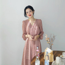 Dress Spring 2020 Pink S,M,L,XL Mid length dress singleton  Nine point sleeve Sweet V-neck High waist Broken flowers other A-line skirt Others Type A Other / other