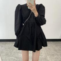 Dress Spring 2021 White, black S,M,L Short skirt singleton  Long sleeves commute Crew neck High waist Solid color Socket A-line skirt routine Others Korean version