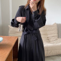 Dress Spring 2021 black Average size longuette singleton  Long sleeves commute Solid color 18-24 years old Other / other Korean version