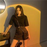 T-shirt Black T-shirt, leopard skirt S. M, average size Summer 2021 Short sleeve cotton 51% (inclusive) - 70% (inclusive) Leopard Print