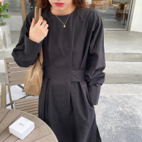 Dress Spring 2021 Apricot, black, red coffee Average size Mid length dress singleton  Long sleeves commute Crew neck High waist Solid color Socket routine Others Korean version