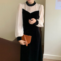 Dress Autumn 2020 black Average size Fake two pieces Long sleeves commute stand collar High waist 18-24 years old Other / other Korean version