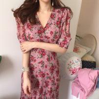 Dress Spring 2020 Model color Average size Short sleeve V-neck High waist 25-29 years old Chiffon