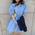 Dress Summer 2021 White, blue Average size Short skirt singleton  Short sleeve commute square neck High waist other puff sleeve Others Korean version