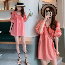 Dress Other / other Pink M,L,XL,XXL Korean version Short sleeve Medium length summer square neck Solid color