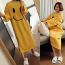 Nightdress Other / other M, l, XL, 2XL, 3XL Sweet Long sleeves pajamas longuette autumn Cartoon animation youth Crew neck cotton printing Knitted cotton fabric 20181107# 200g and below