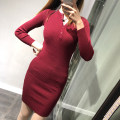 Dress Winter of 2018 Average size Short skirt Long sleeves street Crew neck High waist Solid color other routine 31% (inclusive) - 50% (inclusive) knitting Europe and America
