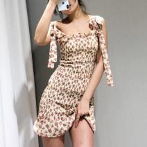 Dress Summer of 2019 Apricot S,M,L Short skirt singleton  Sleeveless street High waist camisole Europe and America