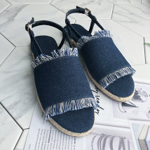 Sandals 36 37 38 39 40 Denim blue black Other / other Denim Barefoot Flat heel Low heel (1-3cm) Summer of 2018 Flat buckle Solid color Youth (18-40 years old) middle age (40-60 years old) daily Back space Shallow tassel metal decorative ankle strap Low Gang Lateral space cloth cloth