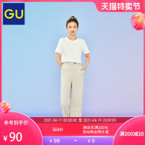 Casual pants 09 black 30 light beige 33 Khaki 155/62A/S 160/66A/M 160/70A/L 165/78A/XL Spring 2021 trousers Straight pants Natural waist GU330636100 Gu Polyester 95% polyurethane elastic fiber (spandex) 5% Same model in shopping mall (sold online and offline)