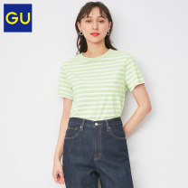 T-shirt 01 cream 10 water pink 50 light green 69 Navy 74 violet 155/80A/S 160/84A/M 160/88A/L 165/92A/XL Spring 2021 Short sleeve Regular cotton 96% and above Gu GU333654000 Cotton 100% Same model in shopping mall (sold online and offline)