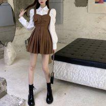Fashion suit Autumn 2020 S. M, l, average size Khaki, black, white shirt polyester fiber