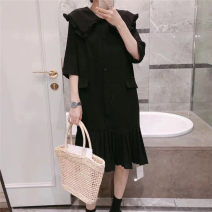 Dress Summer 2021 Black, Navy M, L Mid length dress singleton  Short sleeve commute Doll Collar Ruffle Skirt 25-29 years old Korean version