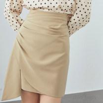 skirt Spring 2021 S,M,L,XL Black, apricot, blue Short skirt commute High waist A-line skirt Solid color Type A 32GT246A7237 91% (inclusive) - 95% (inclusive) Chiffon polyester fiber Tuck, fold, asymmetry, zipper Ol style