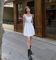 Dress Summer 2020 Black spot, white spot S,M,L Short skirt singleton  Sleeveless commute Crew neck High waist Solid color A-line skirt routine Others bow 31% (inclusive) - 50% (inclusive) cotton