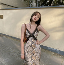 Dress Summer 2020 Suspender dress in stock S,M,L Mid length dress singleton  Sleeveless commute V-neck High waist Animal pattern A-line skirt routine Others Other / other Retro 51% (inclusive) - 70% (inclusive) other