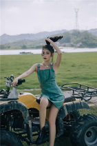 Dress Summer 2020 Greyish green S,M,L Middle-skirt Fake two pieces Sleeveless commute Crew neck zipper Irregular skirt camisole Type H Other / other