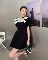 Dress Spring 2021 black S,M,L Middle-skirt Short sleeve Solid color Big swing puff sleeve Type X Other / other