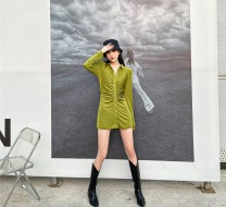 Dress Spring 2021 Black, green XS,S,M,L longuette singleton  Long sleeves Doll Collar High waist Solid color Single breasted routine camisole 25-29 years old Other / other printing 30% and below polyester fiber