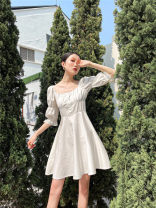 Dress Spring 2021 white XS,S,M,L longuette singleton  Short sleeve Doll Collar High waist Decor Socket routine camisole 25-29 years old Other / other printing 30% and below polyester fiber