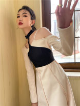 Dress Winter 2020 Rice, apricot and black S,M,L longuette singleton  Long sleeves Crew neck High waist Solid color Socket A-line skirt routine 25-29 years old Type A Other / other Splicing polyester fiber