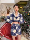 Fashion suit Winter 2020 S,M,L Blue plaid skirt, blue plaid coat 18-25 years old Other / other polyester fiber