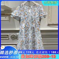 Dress Summer of 2019 Decor XS,S,M,L,XL Short sleeve Crew neck High waist zipper Lotus leaf sleeve Other / other MJ22DA132 Lace