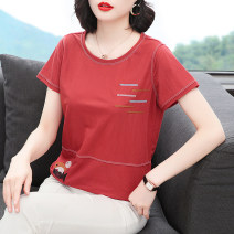 T-shirt Brick red M,L,XL,2XL,3XL Summer 2020 Short sleeve Crew neck easy Regular routine commute Viscose 51% (inclusive) - 70% (inclusive) 40-49 years old Simplicity originality Geometric patterns, stitching Asymmetric, open line decoration