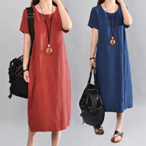 Dress Summer 2020 Navy, green, rust red M [recommended 115 kg], l [recommended 115-130 kg], XL [recommended 130-145 kg], 2XL [recommended 145-165 kg] longuette singleton  Short sleeve commute Crew neck Loose waist Socket Type A Korean version 51% (inclusive) - 70% (inclusive) cotton