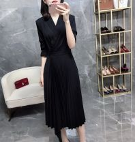 Women's large Spring 2020 Black, pink M, l, XL, 2XL, 3XL, 4XL Dress singleton  commute Straight cylinder moderate Socket Long sleeves Solid color Korean version Medium length polyester fold 25-29 years old Asymmetry Medium length Pleated skirt Lotus leaf edge