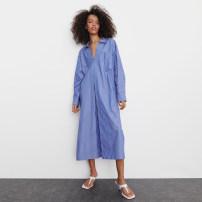 Dress Spring 2021 blue S,M,L longuette singleton  Long sleeves street stripe XD35035099 Europe and America