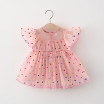 Dress Pink, off white female Other / other 73cm,80cm,90cm,100cm,110cm Cotton 95% other 5% summer Sweet Short sleeve Dot Lace Princess Dress Class A 3 months, 12 months, 6 months, 9 months, 18 months, 2 years old, 3 years old, 4 years old