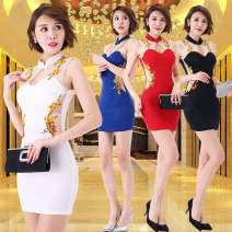Dress Summer of 2019 White, red, black, blue S,M,L,XL,2XL,3XL Short skirt singleton  Sleeveless commute Crew neck middle-waisted Decor Socket One pace skirt routine Others 18-24 years old Other / other Korean version 81% (inclusive) - 90% (inclusive) other polyester fiber