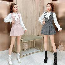 Fashion suit Autumn 2020 S,M,L Three piece set with pink check and three piece set with black check 18-25 years old 71% (inclusive) - 80% (inclusive)