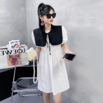 Dress Spring 2021 Blue, white Average size Mid length dress Two piece set Short sleeve commute Crew neck High waist Socket A-line skirt routine Others 25-29 years old Type A Jango Korean version Nail bead 2787# 71% (inclusive) - 80% (inclusive) other cotton